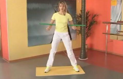 Часть упражнений выполняется с гимнастической палкой