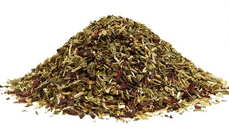 Листья березы, трава багульника, крапива, душица.