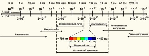 На схеме представлен спектр электромагнитного излучения с указанием длин волн