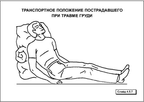 Полусидячее положение – наиболее удачная для транспортировки больного при подозрении на переломы ребер.