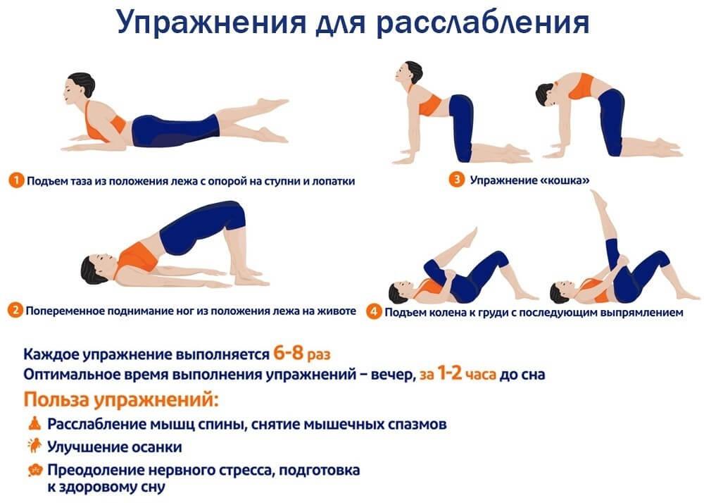 комплекс лечебной гимнастики для расслабления мышц спины