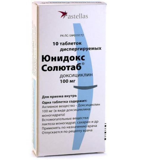 Юнидокс солютаб при хламидиозе схема лечения